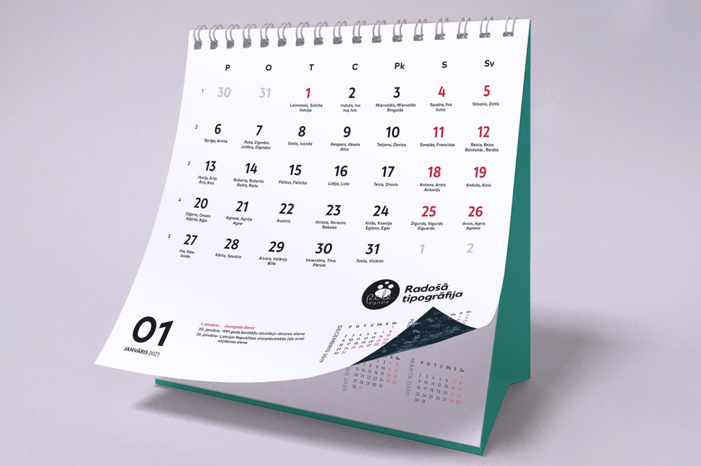 Production of 2021 calendars