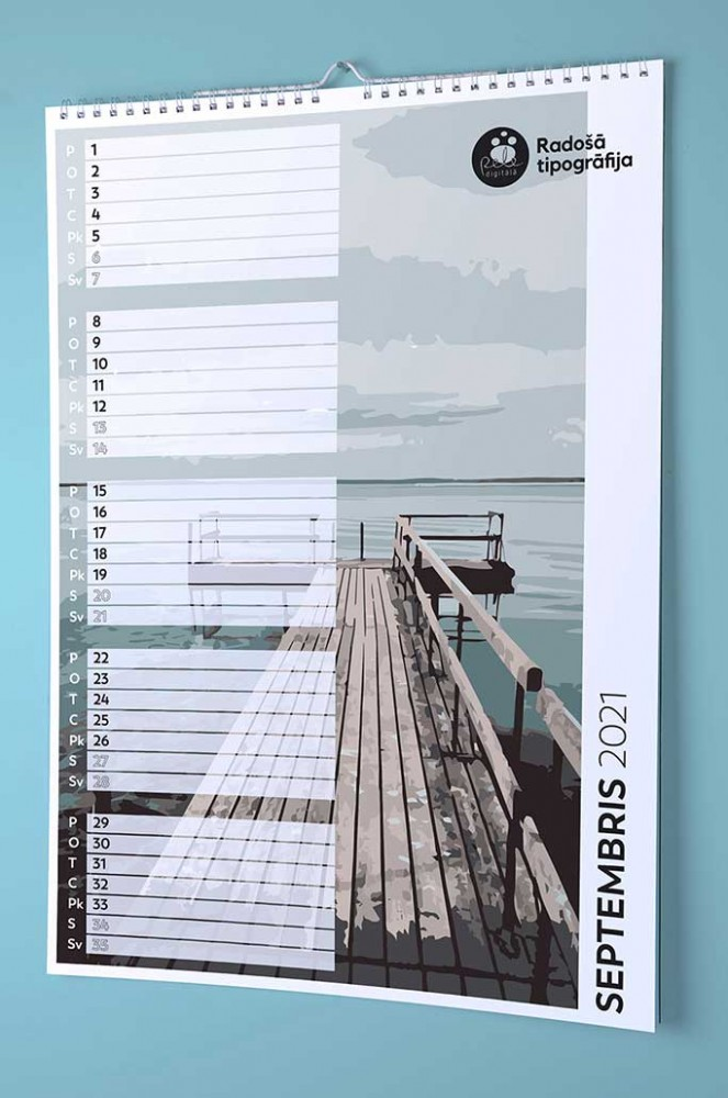 Wall calendar for notes