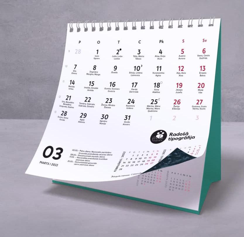 Galda kalendārs 2022