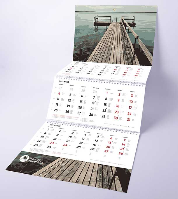 production of a three-spiral wall calendar in 2021
