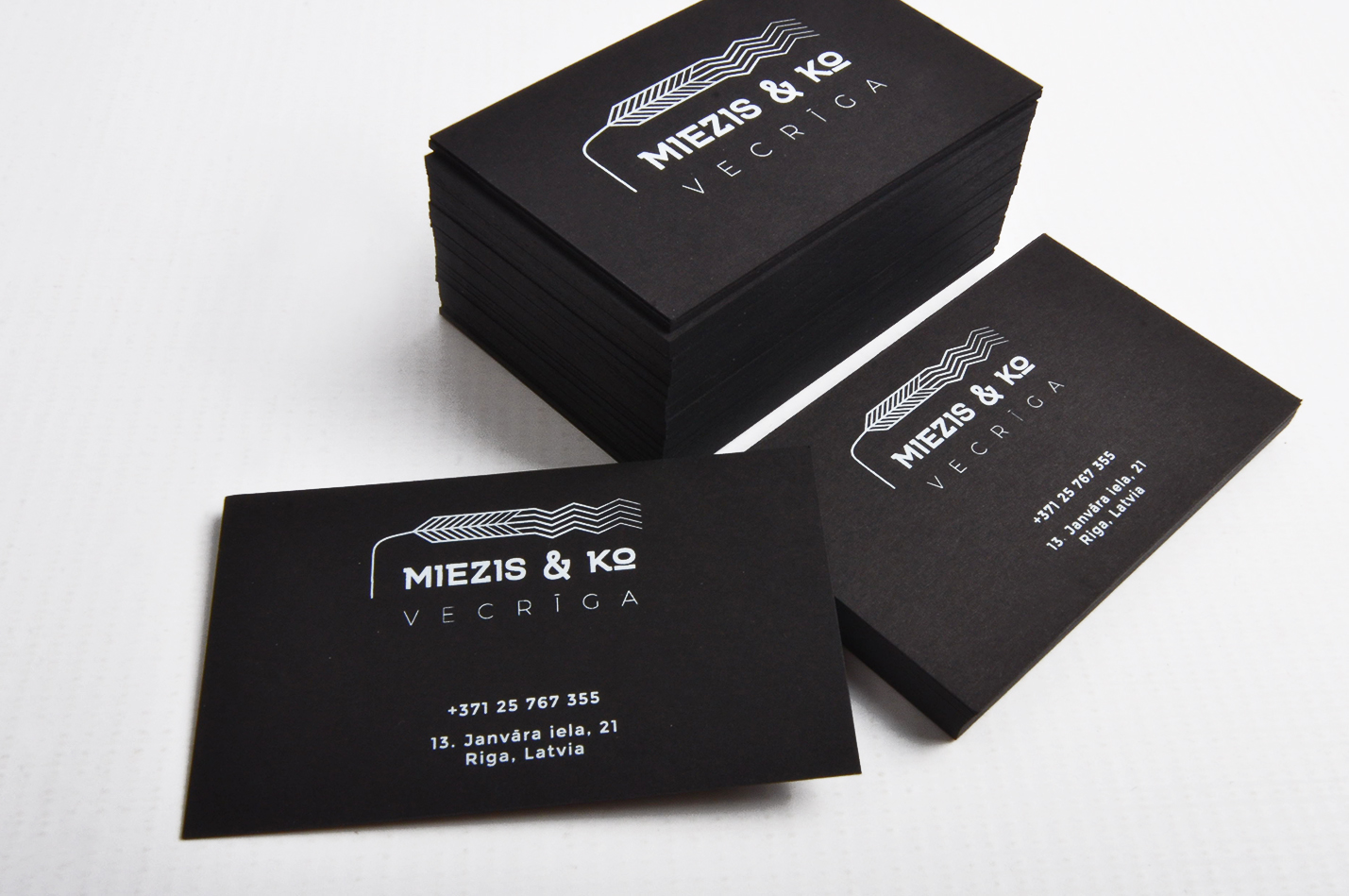 Business card printing with white on black paper