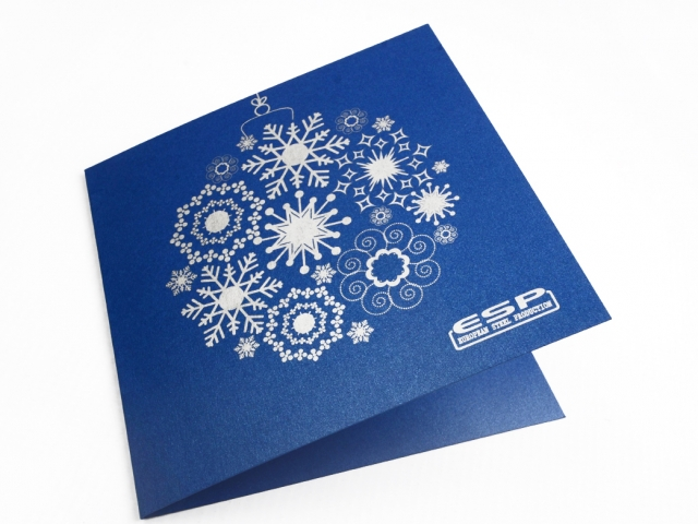 ESP Ziemassvētku kartiņas dizains un druka ar sudrabu