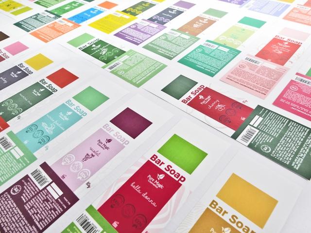 Pure Magic cosmetics etiķetes grafiskais dizains un druka