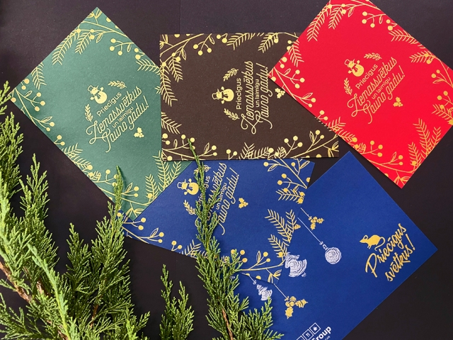 Christmas card printing with gold
