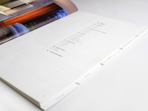 Product catalog with compartments for printing