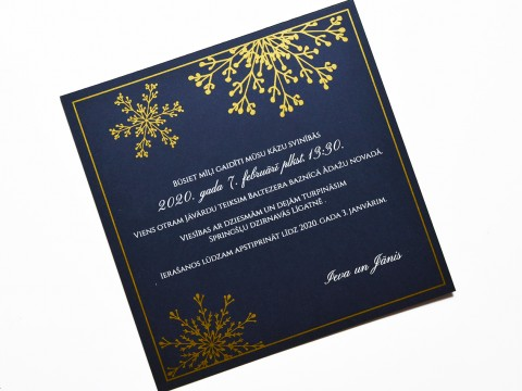 Wedding invitation print in gold and white