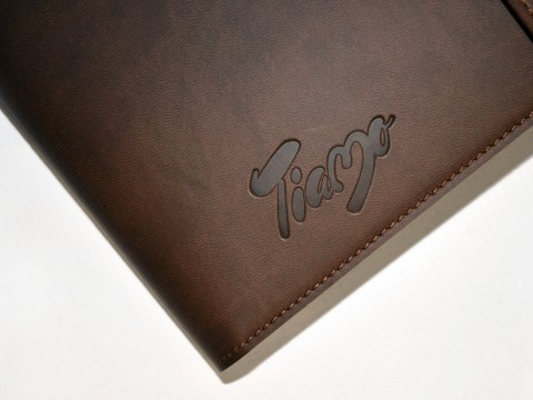 Logo in leather covers