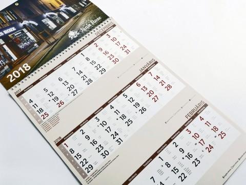 Three-month calendar print