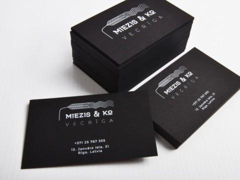 Business cards digital print on black paper