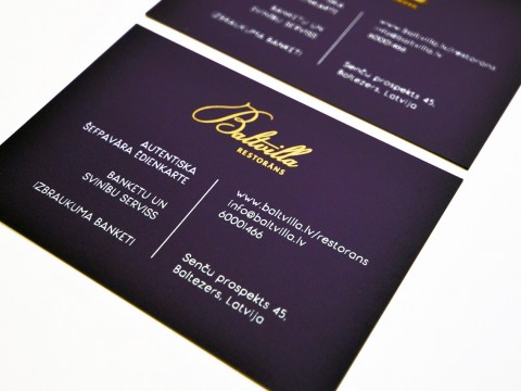 Business card printing in gold and white