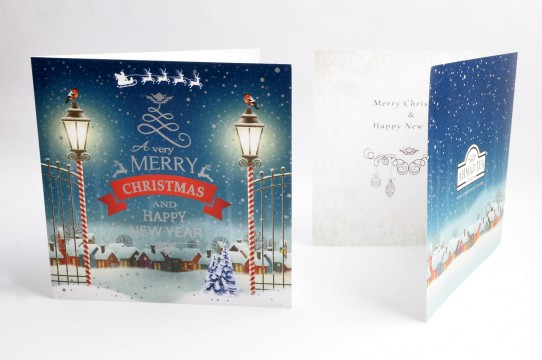 Christmas cards are printed with silver