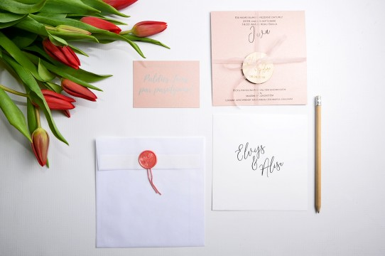 Wedding invitation printed on design papers