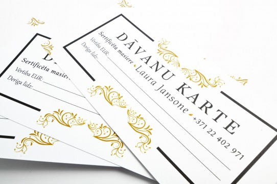 Gold gift card printing