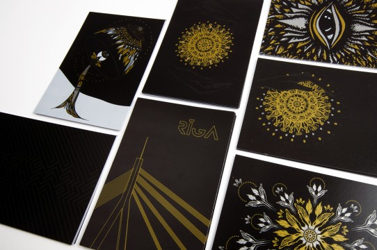 Postcards with gold printing