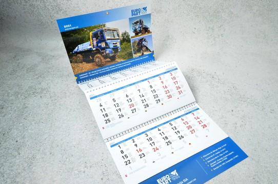 Three-part wall calendars