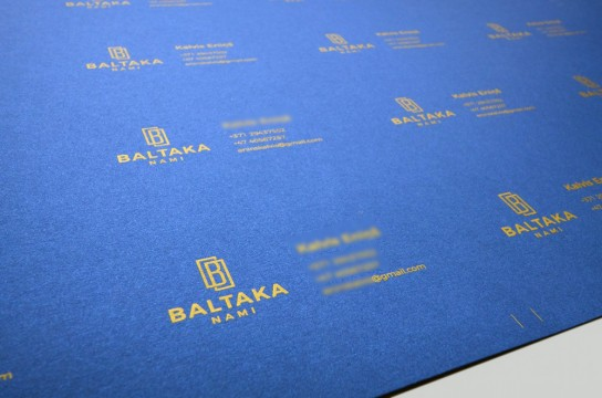 Business card printing with gold