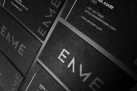 Black business cards with varnish